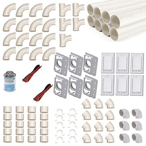 Zentralstaubsauger Einbau-Set für 6 Saugdosen mit Rohren, Fittings & Co. - Montageset für den DIY-Einbau einer Staubsaugeranlage - Saugdose Nordamerika (Hayden) rechteckig