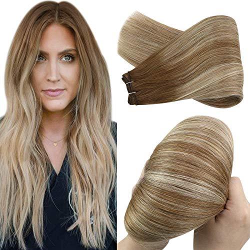 YoungSee 100g/Bundle Balayage Haartressen Echthaar Remy Extensions Blond mit Braun Echthaar Tressen zum Einnahen Glatt Dickes Haare 55 cm