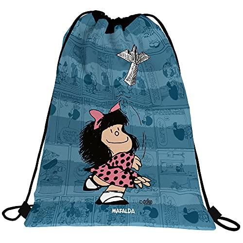 Mafalda 37610584. Mochila Saco Infantil, Colección Avión, Cierre Cuerdas, Bolsillo Exterior, 36x47cm
