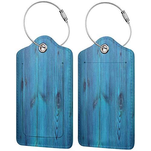 FULIYA - Juego de 2 etiquetas de cuero para maletas, identificador de viaje para bolsas y equipaje, para hombres y mujeres, tablas, superficie, madera, azul