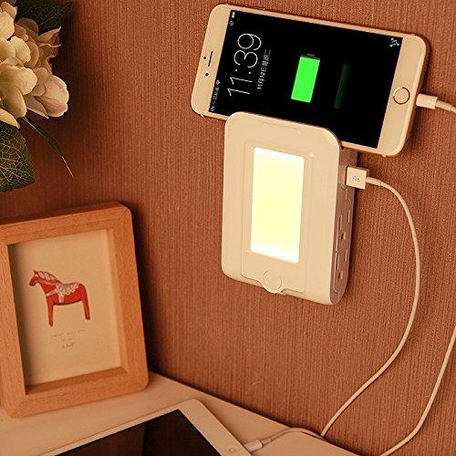 Warm Home Deko-5 V, 2,1 A, LED, nachtlampje, met twee oplaad-interfaces, USB + 4 stopcontacten, Domestic verlichting, Amerikaanse stekker, afmetingen: 12,9 x 8,4 x 3,5 cm Donare