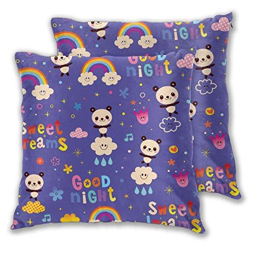 WINCAN Federe Cuscino 60x60cm,2 Pezzi,Buonanotte Sweet Dreams Kids Pattern con Simpatici orsi Panda,Decorativo per Auto Sofà Divano Ufficio Salotto Home Decor