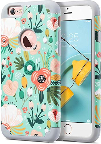 ULAK iPhone 6S Case, iPhone 6 Case, Slim Fit Dual Layer Soft Silicone & Hard Back Cover Bumper Protective Shock-Absorption & Skid-Proof Anti-Scratch Case for Apple iPhone 6 / 6S 4.7 inch, Mint Floral