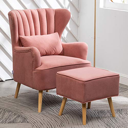 INMOZATA Pink Armchair with Footstool Velvet Accent Chair with Pouffes Scalloped Shell High Wing Back Occasional Tub Chairs with Stool for Living Room, Hold Heavy People to 300LBS by WamieHomy(Pink)