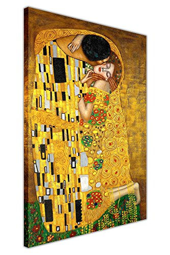 """CANVAS IT UP Leinwanddruck von """"Der Kuss"""" von Gustav Klimt, Hochformat, ideal als Dekoration"""