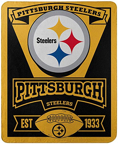 Officially Licensed NFL Pittsburgh Steelers 'Marque' Printed Fleece Throw Blanket, 50' x 60', Multi Color