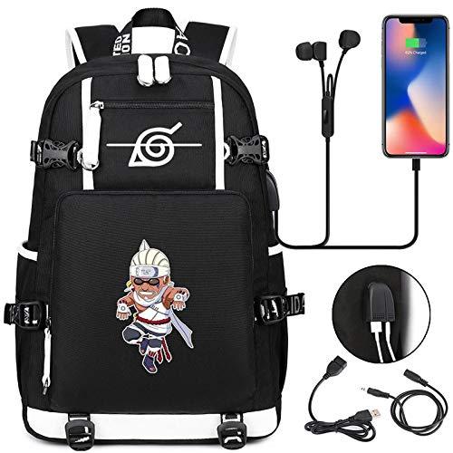 ZOSUO Mochilas Escolares Portatil para Hombre Juveniles Naruto Akimichi Chōji con Puerto De Carga USB Resistente Al Agua Bolsa De Viaje Trabajo Daypacks Gris