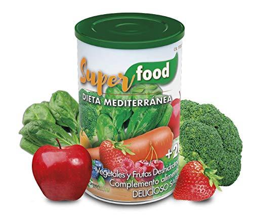 Superfood mediterrane dieet. Alle groenten en fruit die je in 1 eetlepel / + met 20 microvoedingsstoffen nodig hebt.