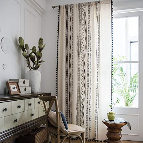 """vctops Boho Cotton Linen Window Curtain Panel with Tassels Geometric Print Country Style Room Darkening Curtain Panel for Bedroom Living Room, 1 Piece (59""""x87"""",Black)"""