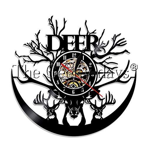 Woodland Deer Hunter Schallplatte Wanduhr Forest Wild Elk Antlers Elchkopf Tier Wanduhr Home Decor