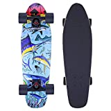 Flying Fish 27' Mini Cruiser Skateboard | 7 Layer Canadian Maple Deck | Complete Skate Boards for Girls, Boys, Beginners | Designed for Kids, Teens and Adults