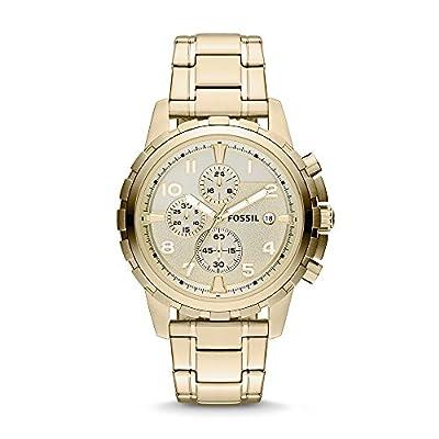 Fossil Men's Dean Quartz Stainless Chronograph Watch, Color: Gold (Model: FS4867)
