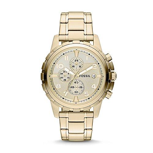 Fossil Men's Dean Quartz Stainless Steel Chronograph Watch, Color: Gold (Model: FS4867IE)