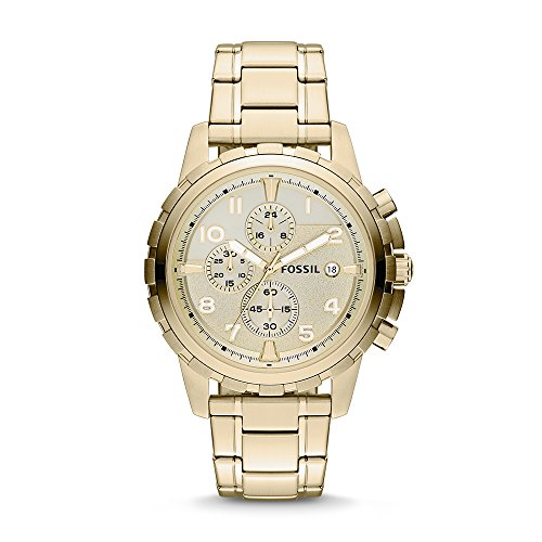 Fossil Men's Dean Quartz Stainless Chronograph Watch, Color: Gold (Model: FS4867)