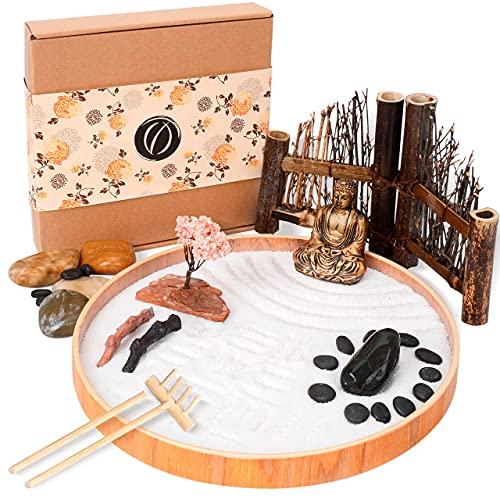 LotsOfZen Mini Zen Garden for Desk (9.5 Inch) — Desktop Zen Garden Kit with Round Sandbox, Miniature Buddha Statue, Wooden Fence, White Sand, Rake, and More Accessories — Great Spiritual Gift Idea
