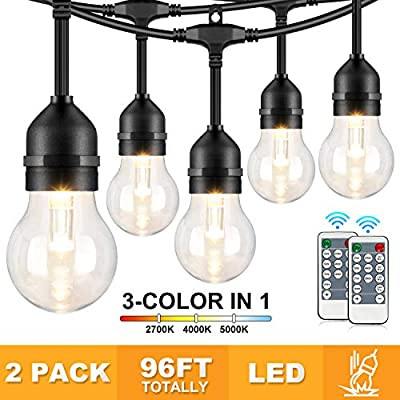 2-Pack 3 Colors in 1 Outdoor String Lights with Remotes for Patio, 30+3 Shatterproof Plastic Bulbs, 48FT Warm/Daylight White Waterproof Dimmable Commercial LED String Light for Bistro Yard Garden 96ft