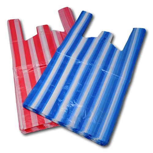 EPOSGEAR Candy Stripe Plastic Vest Carrier Shopping Bags - Perfect for Market Stalls, Shops etc (Large - 11' x 17' x 21', Red/Blue Mix, 1000)