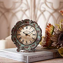 NIKKY HOME Table Top Clock, Vintage Decorative Pewter Clock for Shelf, Green