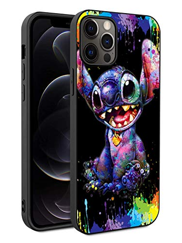 Compatible with iPhone 12 iPhone 12 Pro Anime Comic Series Protection Cover Back Case for iPhone 12/12 Pro (Stitch-Colorful)
