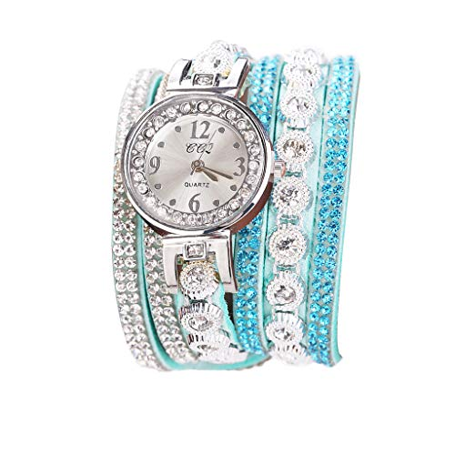 Fenverk Damen Armbanduhr, Retro Vintage Analog Quarz Uhr mit Schmetterling Beads Kugeln Charm Leder Armkette Armband,Spangenuhren Damen,Charm Armband,Analoge Uhren(D#01)