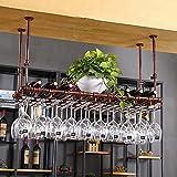 SACKDERTY Tipo de cachimbo de água Suporte de vidro para vinho pendurado em Ferro Teto Decoração Prateleira Bares antiferrugem, restaurantes, cozinhas