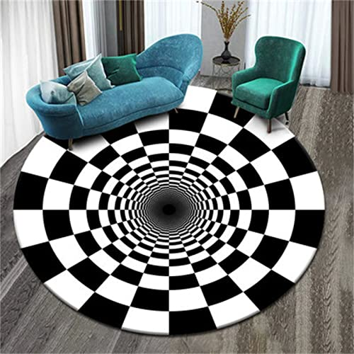 3D Tridimensional Circular Atmósfera Simple Hogar Sala De Estar Dormitorio Alfombra Visual Vórtice Estera Mesa De Café Estera De Mesa 180cm Diameter