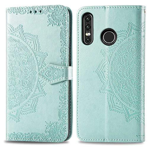 Bear Village Hülle für Huawei P30 Lite/Nova 4E, PU Lederhülle Handyhülle für Huawei P30 Lite/Nova 4E, Brieftasche Kratzfestes Magnet Handytasche mit Kartenfach, Grün