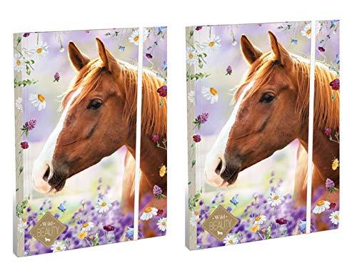 Theonoi 2 carpetas brillantes con diseño de caballos dulces, carpeta para archivar y guardar documentos con goma elástica, DIN A4, para niños, para archivar y colocar (caballo 1)