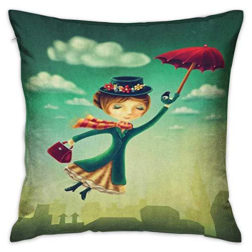 Fantasy Square Body Kissenbezug Cartoon Märchen Nanny mit magischen Regenschirm und Tasche über London Skyline fliegen Mehrfarbige Kissenbezüge Kissenbezüge für Sofa Schlafzimmer Auto