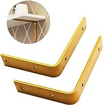 KaKaDz CXF L-vormige haakse wandbeugel wandmontage, zwaar metalen steunframe, gouden montagebeugel, ruimtebesparend (maat:...