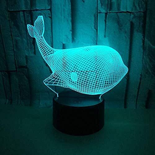 3d lampara de la noche Lámpara De Ilusión whale Decoración Del Hogar Regalo De Cumpleaños Para Niños Habitación De Niños Con interfaz USB, cambio de color colorido