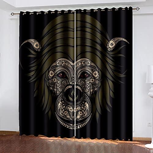 HAOGG Cortinas Opacas De Salon 3D Negro Animal Orangután Patrón 2 X...