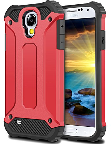 WOLLONY Galaxy S4 Case, Rugged Hybrid Dual Layer Hard Shell Armor Protective Back Case Shockproof Cover for Samsung Galaxy S4 Case - Slim Fit - Heavy Duty - Impact Resistant Bumper(Red)