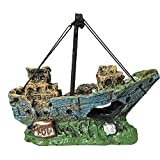 Jroyseter Acuario Barco Paisaje Pescado ejecución Exquisita Resina naufragio Decoración Adornos Mini Nave por un Acuario de exhibición Utensilios Decoraciones caseras (A)
