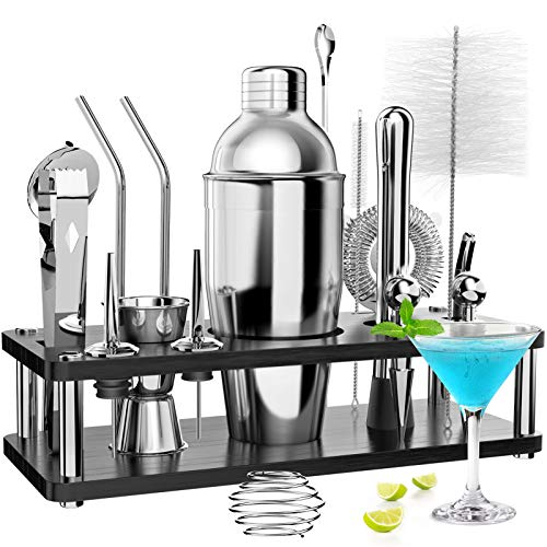18 Pcs Cocktail making Set with Wooden Display Stand, RATEL Stainless Steel Cocktail Making Set Professional Bar Accessory Tool, Cocktail Mixing Kit Including Shaker, Strainer, Muddler, Jigger