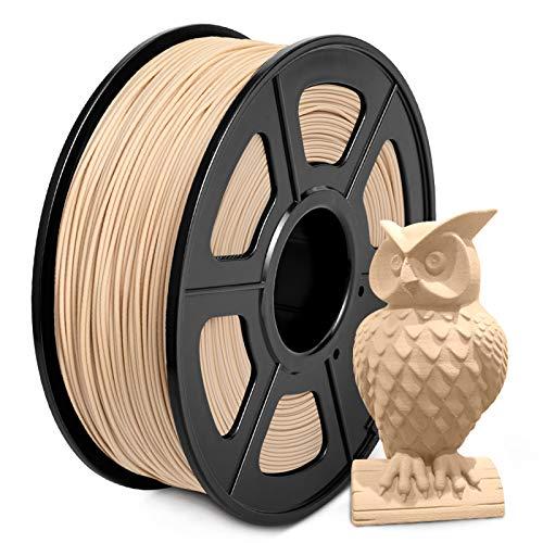 Wood Filamento PLA 1.75mm, SUNLU Wood PLA Filamento Impresora 3D, Bajo Impresión Temperatura, Precisión Dimensional +/- 0.02mm, 1kg, Verdadero Madera