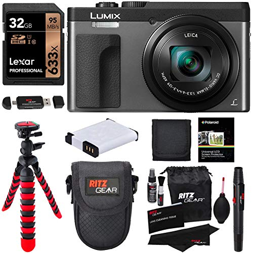 Panasonic DC-ZS70S Lumix 20.3 Megapixel, 4K Digital Camera, Touch Enabled 3' 180 Degree Flip-Front Display, 30x Leica DC Vario-Elmar Lens, Wi-Fi with 3' LCD, Silver, Lexar 32GB and Accessory Bundle