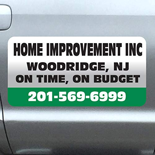"""Vehicle Magnets sign With Custom Lettering 12"""" X 24"""" (Set of 2) -Landscape, Construction, Handy man, Plumbing, car repair shop-GREEN-BAR"""