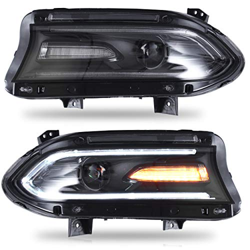 VLAND Headlight Assembly Fit for Dodge Charger 2015 2016 2017 2018 2019, LED Headlamp Assembly , with DRL Sequential Turn Signa, Full LED Light, Plug-and-play