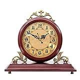 ZhenHe Reloj de sobremesa familia Relojes relojes de la chimenea de la sala de estar dormitorio sólida de cuarzo reloj de escritorio de madera Decoración adecuado for vivir Oficina de la habitación do