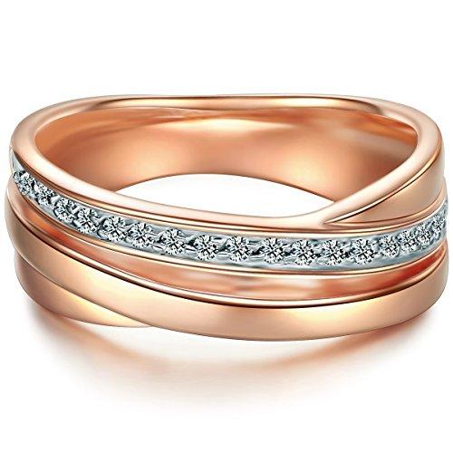 Tresor 1934 Damen-Wickelring Sterling Silber rosévergoldet Zirkonia weiß im Brillantschliff - Ehering Trauring Ring Zirkonia roségold