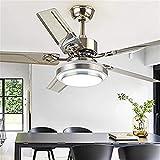 Ventilador de Techo con Luz Lámpara LED Ventilador de techo con iluminación LED regulable ajustable velocidad del viento del acero inoxidable de 5 cuchillas silencioso ventilador de techo, Método de c