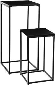 Atmosphera Lot de 2 sellettes Tables d'appoint en métal - Style Industriel - Coloris Noir