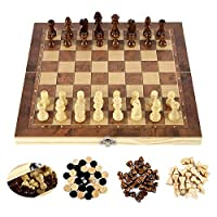 3 IN1木製国際チェスセット木製チェスボードゲームチェッカーパズルゲーム婚約子供向け誕生日プレゼント