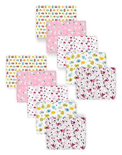 Be Mammy Paquete de 10 Conjuntos de Pañales para Bebés 80x80 cm BESD002 (Niña1 (10 Pack), 80x80)