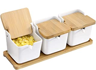 [Set of 3] Porcelain Condiment Pots with Bamboo Tray, Ceramic Sugar Bowls Spice Jars and Salt Box with Spoons, 9.1 fl oz Seasoning Boxes