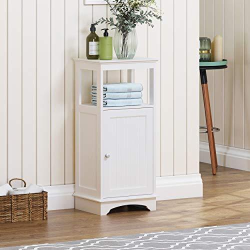 Spirich Home - Armario de suelo con una sola puerta y estantes, color blanco