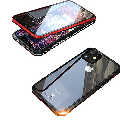iPhone 11 Case,360° Full Body,Front and Back of Clear Touchable HD Tempered Glass,with Built-in Screen Protector Magnetic Adsorption Metal Frame Cover Lightweight iPhone 11 6.1' (Red+Black)