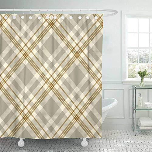 Stoff Duschvorhang mit Haken Gelb Tartan Plaid traditionell kariert in Palette von grau-braun & hellgoldenem dekorativem Badezimmer behandelt, um einer Verschlechterung durch Mehltau zu widerstehen