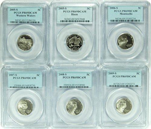 "0 S 2005-09S Date Run of ""6"" Jefferson Nickel DCAM..."